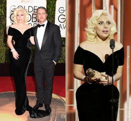 Wholesale 2016 Lady Gaga Formal Celebrity Dresses The rd Golden Globe Awards Red Carpet Gowns Black Short Sleeves Sheath Evening Dress Custom Made