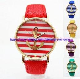 Wholesale 55pcs new arrival Geneva stripes anchor leather watch men women quartz unisex watches