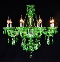 Children room lustre green chandelier crystal lamp Cafe Bar Restaurant led Candle holder pendant lights crystal Lighting Led Kroonluchter