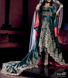 2015 Nisrine Luxury Arabic Dresses Long SleevesGolden Appliques Beaded Lace Crystal Arabic Evening Dresses with Pants Custom Make