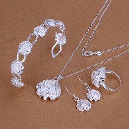 High grade 925 sterling silver Sose Set jewelry sets DFMSS321 brand new Factory direct sale 925 silver necklace bracelet earring ring