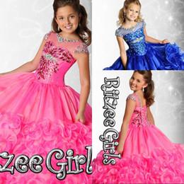 2015 Ritzee Girls Beads Girls Pageant Dresses Little Girl Ball Gown Big Kids Floor Length Ruffles Flower Girls Dresses With Cap Sleeve
