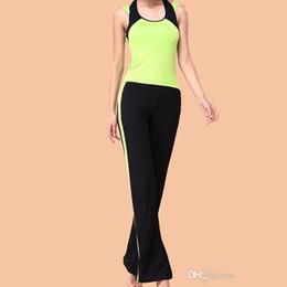 Wholesale Hot Fashion Ladies Women Yoga Sets Sports Wear Clothing Halter Fashion Patchwork Gym Shirt Vest Pants Asian Tag Size M XL