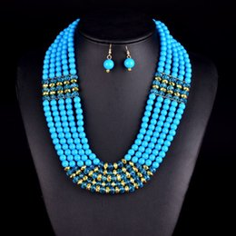 Wholesale Amazing african beads jewelry set chain women Nigerian wedding crystal multi layer necklace earring Indian jewelry sets V047