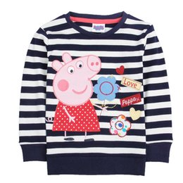 Wholesale For M Y Cartoon peppa girl black white stripe girl t shirt embroider floral cotton clothes