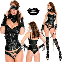 Wholesale Plus Size XL Value Set PVC Full Outfits Leather Latex Bodysuit Corset Blindfold Gloves and Legging Garter Sexy Night Club Wear