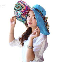 Wholesale-Hot Fashion Women Bohemia Style Sun-shade Sunscreen Cap Bow Decor Folded Casual Beach Hat