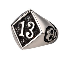 316L Stainless Steel Punk Gothic No.13 Skull Cool Biker Ring Factory Price