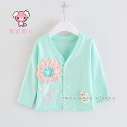 Wholesale 2015 New Spring Autumn Korean Style Girl Button Cardigan V Neck Long Sleeves Outwear For Children Cute Robbbit Decorate Coat For Baby CR65