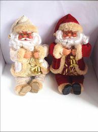 "2pcs set 25cm 10"" Christmas gift Christmas Tree Home decoration santa claus doll plush toy New Year gift High quality"