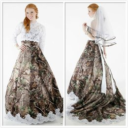 Two Pieces 2015 Lace Camo Wedding Dresses Strapless with Hollow Lace Top Long Sleeves Chapel Train Realtree Spring Camouflage Bridal Gowns
