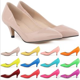 Wholesale Classic Sexy Pointed Low Med Kitten Heels Women Pumps Shoes Spring Brand Design Wedding Shoes Pumps Big Size colors available