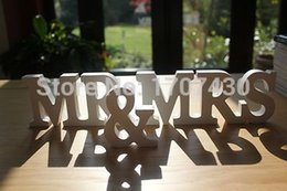 Wholesale MR MRS ANTIQUE WHITE WOODEN LETTERS WEDDING TABLE DECORATION mr and mrs sign