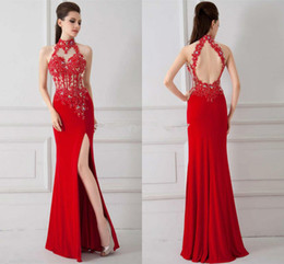 Sexy Style Red Evening Dresses Backless High Neck Beaded Lace Chiffon Side Split Floor Length 2019 Bridesmaid Gowns Custom Made