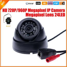 Promotion dôme intérieur caméras ip Mini caméra HD 720p mégapixels IP Security Camera Dome Indoor / 960P 1,0 / caméra 1.3MP IP filtre anti-IR 24 IR LED 3518E 25fps ONVIF