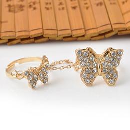 Women Butterfly Rhinestone Setting Chain Rings Gold Tassels Ring Bride Wedding Ring Finger Rings Free Shipping
