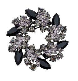 2 Inch Vintage Look Black Gold Plated Zinc Alloy Grey Rhinestone Crystal Diamante Wreath Brooch Party Prom Pins