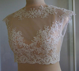 New Arrival Lace Bridal Jacket With Cap Sleeve Crew Neckline Pearls Bolero Custom Made Wrap Bridal Accessories For Wedding Dress Jackets