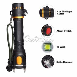 Wholesale 10W Defensive CREE T6 LED Flashlight Aluminum Alloy Outdoor Self defense Lamp Light High Middle Low Blasting Flash SOS