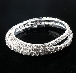 Wholesale 6styles length New Silver Plated Spring Row row Line Clear Rhinestone Crystal Bracelet Tennis Bracelets stones stones stones