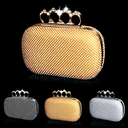 Wholesale-Women evening bags finger ring full rhinestone evening bag golden party wedding evening bags and bag with chain handbags