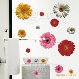 Wholesale Wall stickers home decoration IHome removable wall stickers colored daisies translucent material repeat the paste does not harm the wall L
