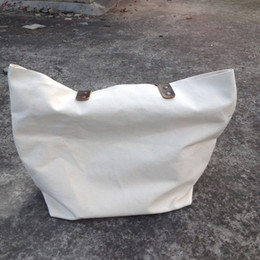 Wholesale Thick and durable oz pure natural cotton canvas tote bag blank totes for custom print canvas tote bag with genuine leather handles