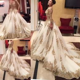 Wholesale Two Pieces Prom Dresses Long Sleeves Evening Gowns Sexy Illusion Bodice Gold Beaded Appliques Wedding Ball Gowns Dresses Evening Wear
