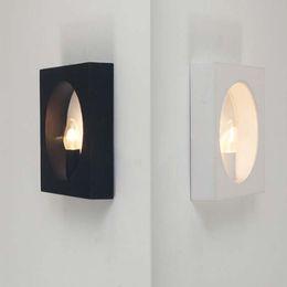 Wholesale Modern Minimalist Nordic Artistic Creativity Red White Black Iron Rectangular LED Wall Lamp Aisle Bedroom Living Room Light