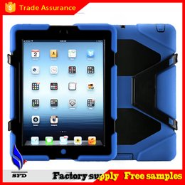 Wholesale Military Extreme Heavy Duty Shockproof CASE with stand holder for ipad air ipad mini ipad