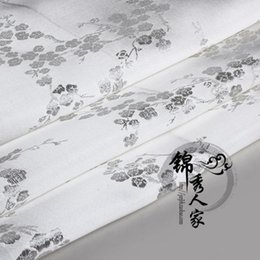 Wholesale The brocade fabric Ancient costume hanfu COS clothing silk qipao fabric cloth white white plum blossom