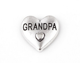 20PCS lot Silver Color Grandpa Word Letter DIY Heart Floating Locket Charms Fit For Glass Living Magnetic Locket