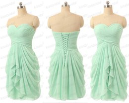 Mint Bridesmaid Dresses Cheap Real Image Homecoming Dresses Ruffle Sweetheart Neck Plus Size Lace Up Back Chiffon Formal Party Gowns