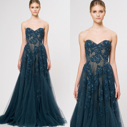2015 Zuhair Murad A Line Sweetheart Appliques Beaded Long Formal Elegant Evening Dresses Floor Length Half backless