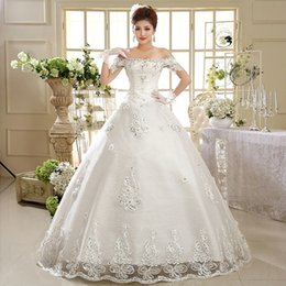 Wholesale Newest Korean fashion Manufacturers hot sell new A word shoulder plus size Bridal wedding dresses HS593