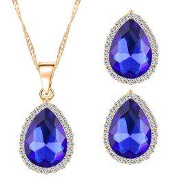 18KGP Crystal Necklace Earrings Bride Jewelry Sets For Women Fashion Zircon Water Drop Jewelry Set 32M50
