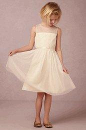 Wholesale 2015 Flower Girl Dresses A Line Sheer Crew Neckline Lace Appliques Accent Waist Band Knee Length Tulle Junior Bridesmaid Dresses