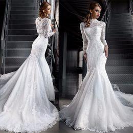 Modest Muslim Lace Wedding Dresses Illusion Long Sleeve High Neck Lace Applique Mermaid Bridal Dress Islamic Dubai Wedding Gowns Tradional