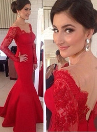 2015 Sexy Red Backless Open Back Prom Dress Long Sleeve Lace Appliques Mermaid Evening Gowns