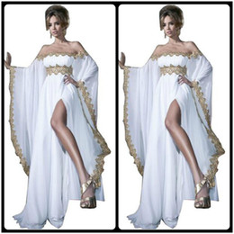 2020 Arabic Style Long Sleeve Gold Lace and White Appliques Chiffon Abaya Kaftan Evening Prom Dresses With High Slit Women Gowns