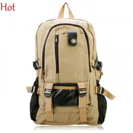 Wholesale 2015 New Fashion Backpack Strap Leisure Mens Zipper Color Brown Black Green Casual Canvas Backpack School Bag Shoulder Travel Bags SV017798