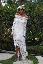 2019 Newest Hi-lo Full Lace Beach Country Wedding Dresses Off Shoulder Long Sleeves Simple Plus Size Bridal Gown Cheap