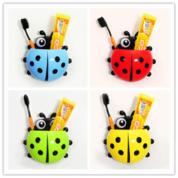 Wholesale 4 colors Cute Ladybug Cartoon Sucker Toothbrush Holder suction hooks Household Items toothbrush rack bathroom set