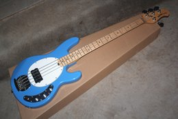 Free shipping High Quality Music Man Ernie Ball Sting Ray 4 String Active Pickup Blue Electric Bass Guitar Maple Neck