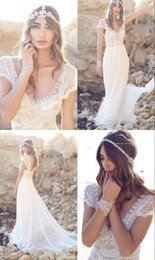 Wholesale 2016 Beach Vintage Romantic Bohemian Wedding Dresses From China Crystal Online Cap Sleeve v Neck Bridal Gowns