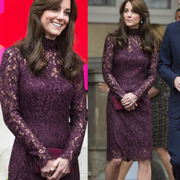 UK Autumn Spring new product Princess Kate purple lace long sleeve lady dress sexy Slim star style Europe women evening party dresses flower