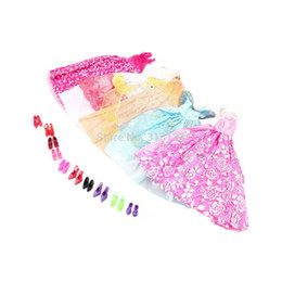 1Set=5Pcs Handmade Princess Party Gown Dresses Clothes+10 Shoes For Barbie doll High Quality