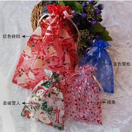 Wholesale Christmas Santa snowman Design Gift sand pocket bag Wedding jewelry candy Xmas organza bags Pouches packaging holiday party Decorations best