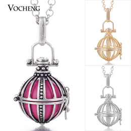Wholesale VOCHENG Baby Chime Cage Pendant Copper Chain Necklace Lingerie Angel Ball Pendants Necklace VA