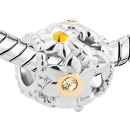 Wholesale Retail Alloy Material With Rhodium Plating Flower Pave With Clear Yellow Crystal European Beads For Pandora Bracelet